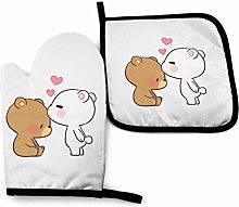 2PCS Oven Gloves and Pot Holders Sets,White Bear