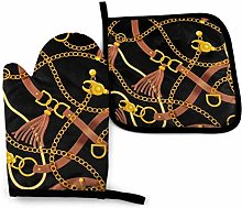 2PCS Oven Gloves and Pot Holders Sets,with Belts