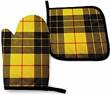 2PCS Oven Gloves and Pot Holders Sets,Yellow Gray