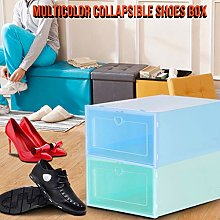 2Pcs Plastic Stackable Shoe Storage Rack, Foldable