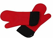 2pcs Red Silicone Kitchen Oven Mitt Glove