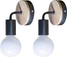 2pcs Retro Wall Lamp Style Metal Iron and Wood