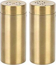 2Pcs Salt and Pepper Shakers, Gold Salt Shaker