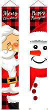 2Pcs Santa Claus Snowman Curtain Oxford Cloth