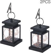 2pcs Solar Powered Lantern Lamp with Clip Warm