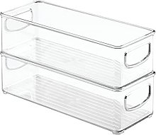 2Pcs Stackable Food Storage Bin, Kitchen Storage