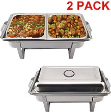 2pcs Stainless Steel Buffet Food Warmer Double