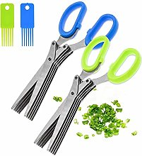 2PCS Stainless Steel Herb Scissors with 5 Blades,