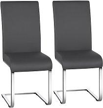 2pcs Stylish Dining Chairs PU Leather w/High Back