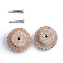 2Pcs Wood Round Pull Knobs Cabinet Drawer Wardrobe