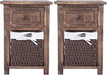 2pcs Wooden Bedside Table, Cabinet Table Night