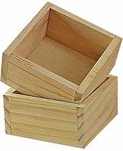 2Pcs Wooden Storage Box Square Wooden Plant Pot