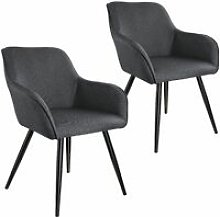 2x Accent Chair Marylin - dark grey/black