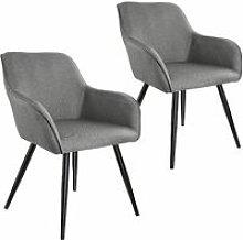 2x Accent Chair Marylin - light grey/black