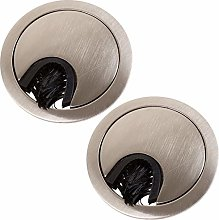 2X Brushed Nickel Desk Grommets (50mm) with Brush