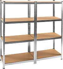 2x Garage shelving unit heavy duty 4 tier - brown