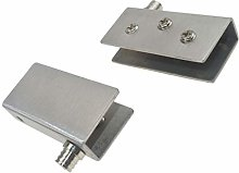 2X Glass Bracket Pivot Clamp Holder Door Glass