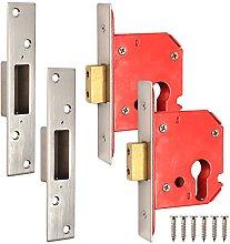 2X Nickel Euro 63mm Dead Lock Cases