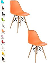 2x ORANGE COMO Eiffel Dining Chair Plastic Wooden