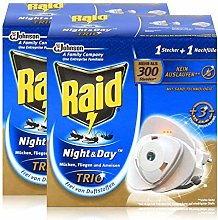 2x RAID Night & Day Trio Insect Repellent Plug and
