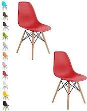 2x RED COMO Eiffel Dining Chair Plastic Wooden Leg