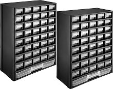 2x storage bin units 41 drawers - black/white