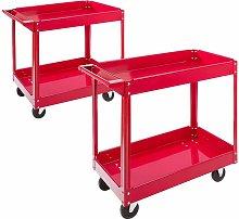 2x Tool Trolley 2 Level Mobile Workshop Trolley