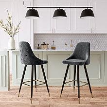 2x Velvet Bar Stools Kitchen Breakfast Pub Chairs
