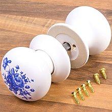 2X White & Blue Flower Ceramic Interior Drawer