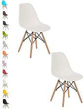 2x WHITE COMO Eiffel Dining Chair Plastic Wooden