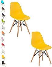 2x YELLOW COMO Eiffel Dining Chair Plastic Wooden