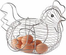 2XChrome Plated Chicken Shaped Wire Egg Storage