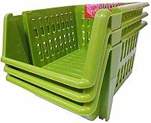 2xStacking Basket Set of 3-Leaf Green, 18 cm, 21 x