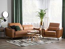 3 + 1 Sofa Set Brown Leather Adjustable Headrest