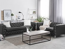 3 + 2 Seater Chesterfield Style Sofa Set Black