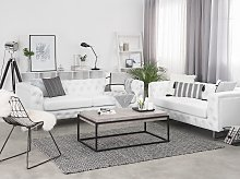 3 + 2 Seater Chesterfield Style Sofa Set White