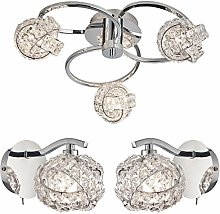 3 Bulb Flush Ceiling Lamp & 2X Wall Light Pack |