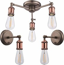 3 Bulb Hanging Ceiling Pendant & 2X Single Wall