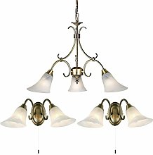 3 Bulb Hanging Ceiling Pendant & 2X Twin Wall