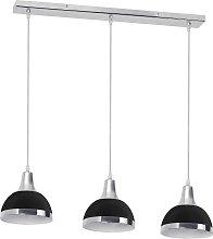 3 Bulb Pendant Light with Black Shades - Chrome