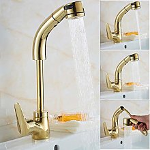 3 Colors Pull Out Bathroom Sink Faucet Hot and