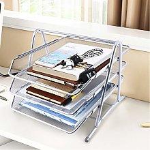 3 Compartments Mesh Design Letter Tray Metal Desk