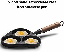 3-Cup Egg Frying Pan with Wooden Handle, Cast Iron
