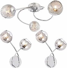 3 Curved Arm Ceiling & 2X Twin Bulb Wall Light