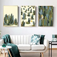 3 decorative paintings Green Succulent Wall Art