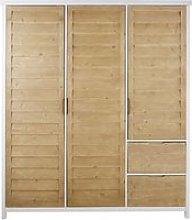 3-door 2-drawer solid spruce wood wardrobe Esterel