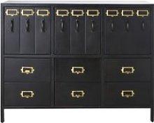 3-Door 6-Drawer Black Metal Storage Cabinet Officer