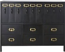 3-Door 6-Drawer Black Metal Storage Cabinet