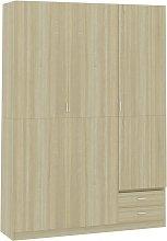 3-Door Wardrobe Sonoma Oak 120x50x180 cm Chipboard