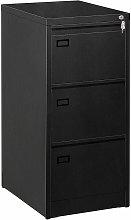 3 Drawer Metal Filing Cabinet Black PRESPA
